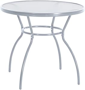 greemotion Table de jardin ronde Prag – Table ronde diamètre 80 cm – Table verre et métal grise – Petite table ronde de jardin – Table salon de jardin 4 personnes  - table de balcon inoxydable