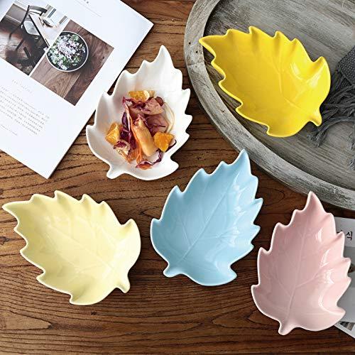 xzfddn Home - Cuenco de cerámica para el hogar, postre tipo hoja, plato de postre, bandeja para tartas, plato de sushi, decoración artística