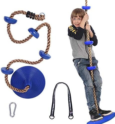 Tree Swing Climbing Rope with Platforms Blue Disc Swings Seat Bonus Carabiner and 25 6 inch product image