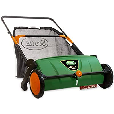 Scotts Outdoor Power Tools, 26-Inch Push Lawn Sweeper, with 3.6 Bushel Rear Collection Bag.