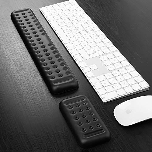Tastatur und Maus Handballenauflage Set Gaming PU Memory Foam Ergonomische Handflächenauflage für Computer, PC, Laptop, Mac-Typisierung, Schmerzlinderung und Reparatur am Handgelenk (PU, Schwarz)