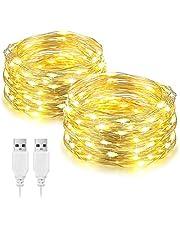 (2 Pack) LED Fairy String Lights 10M, USB Powered, 100LED Decoratieve Zilveren Draad Ketting Licht, voor Indoor Slaapkamer Muur Kerstfeest Bruiloft Verjaardag Patio Decoratie, Warm Wit