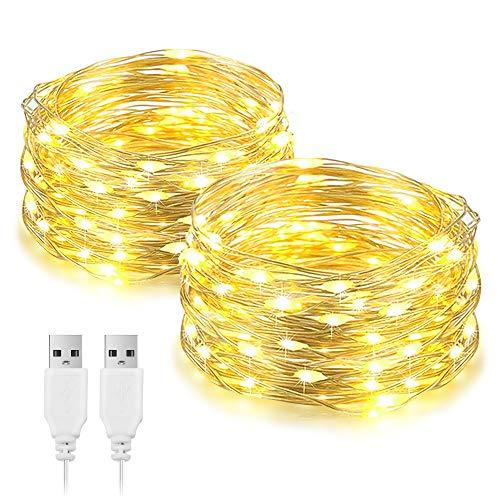 Fulighture luci a LED da 10 m, alimentate tramite USB, 100 LED a catena decorativa in argento, per interni, camera da letto, parete, Natale, feste, compleanni, patio, decorazione bianca calda, 2 Pezzi