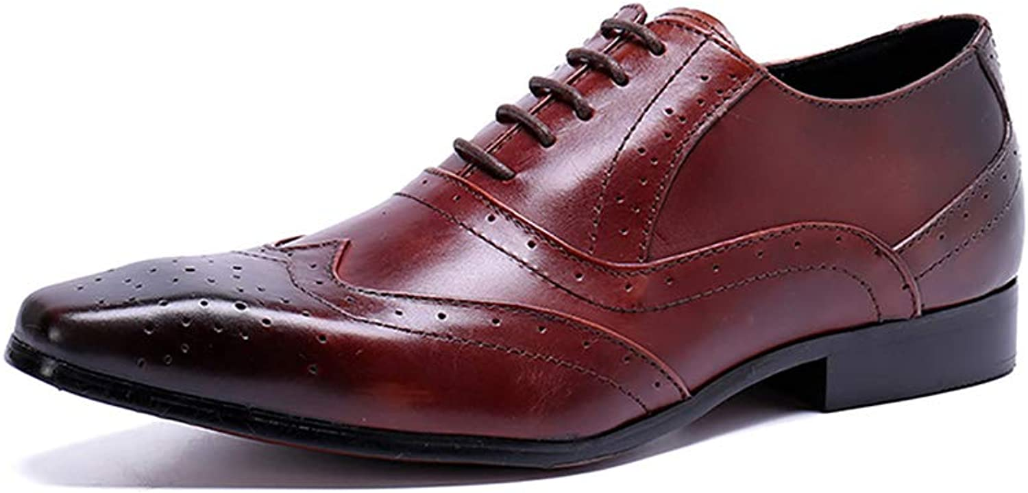 SHOES Mens Leather Pointed Toe Lace-Up Rock Singer Casual for Nightclub,Business,Wedding,Casual,Office,Party
