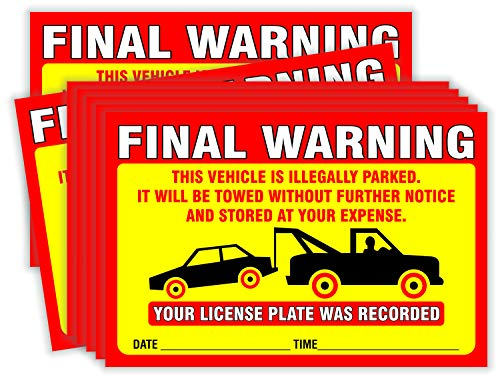 """Final Warning Stickers (Pack of 50) Parking Violation Notice Vehicle is Illegally Parked - Large Size 6"""" X 9"""" – Yellow Photo #6"""