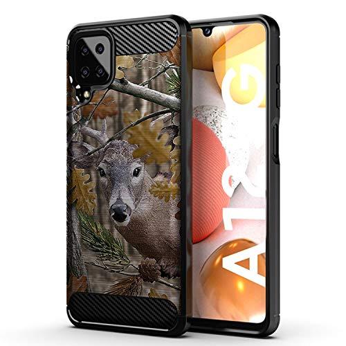 CasesonDeck Deer Case Compatible with [Samsung Galaxy A12 / A12 (6.5') Case] Hunters Series Slim No Bulk Carbon Fiber Texture Black Flexible TPU Material (Deer Tree Camo)