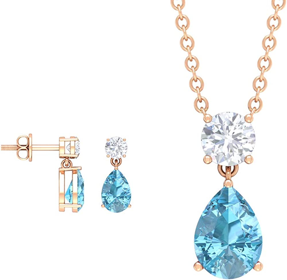 2.22 CT Pear Cut Aquamarine Jewelry Set, Round Cut Moissanite Earring, Teardrop Necklace and Earring Set, Gold March Birthstone Pendants (AAA Quality)