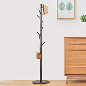 WALTSOM Coat Racks Free Standing, Wooden Coat Hat Tree with 8 Hooks and Solid Round Base, Hallway Entryway Coat Hanger Hook Stand for Clothes, Scarves, Handbags, NO Tools Required (Dark Brown)