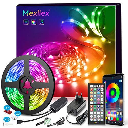 LED Strip 5M Musiksynchronisation Farbwechsel RGB LED Streifen 44 Tasten Fernbedienung, empfindliches eingebautes Mikrofon, von der Anwendung gesteuerte LED Streifen, 5050 RGB LED Leuchtstreifen