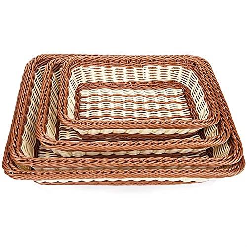 Home Baking 4 Pack de 4 cestas de pan tejidas rectangulares de ratán de imitación para alimentos y frutas