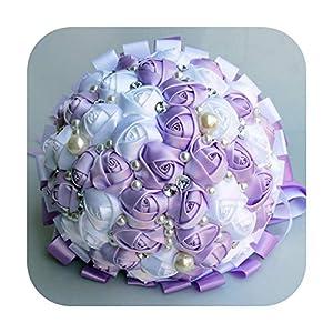Silk Flower Arrangements HaHapo Romantic Purple White Ribbon Wedding Bouquet Decorative Artificial Rose Flowers Bridal Crystal Pearls Silk Stitch Bouquets W271-18Cm Lilac White
