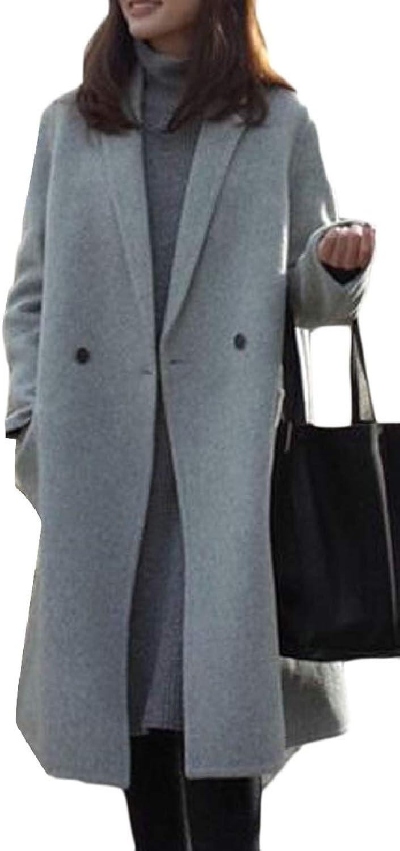 ZXFHZSCA Women Winter Coat Solid Loose Fit Wool Blend Jacket Coat Outwear