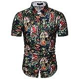 CFWL Summer Men's Retro Characters Impreso En 3D Estilo Europeo Y Americano Camisa Delgada De Delgada Camisa Hawaiana para Hombres Funky Casual Button Down Muy Ruidoso Funky Black L