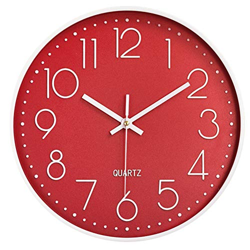 Taodyans Moderno Orologio da Parete Silenzioso Orologio da Cucina Quarzo da 30 cm (Rosso)