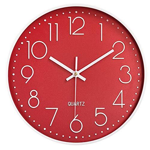 Taodyans - Reloj de pared silencioso de 12 pulgadas, reloj de cocina, de cuarzo, funciona con pilas, reloj de decoración del hogar, para oficina, clase, sala de estar, dormitorios (rojo)