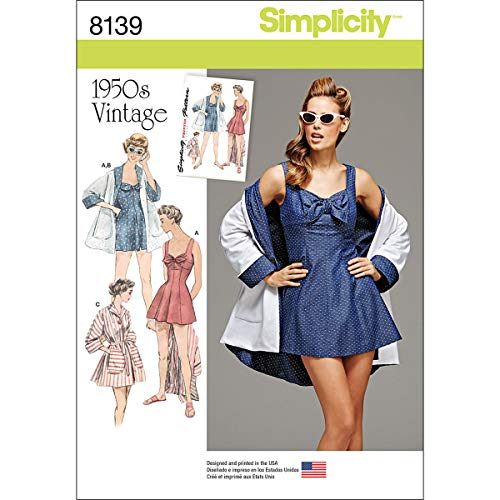 Simplicity 8139 1950's Vintage Fashion Women's Bathing Dress and Beach Coat Sewing Pattern, Sizes 6-14