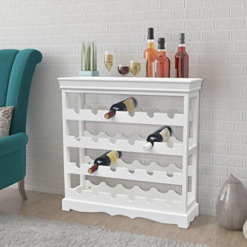 UnfadeMemory Weinschrank MDF Flaschenregal Weinständer Holzregal mit 4 Etagen 70 x 22,5 x 70,5 cm Wohnzimmer Esszimmer Weinregal für 24 Flaschen (Weiß)