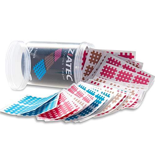 ZiATEC Cross Tapes Box mit 102 | 204 Pflastern in praktischer Schutzdose | Gittertape, Akupunktur-Pflaster, Größe:Universalgröße, Farbe:mix