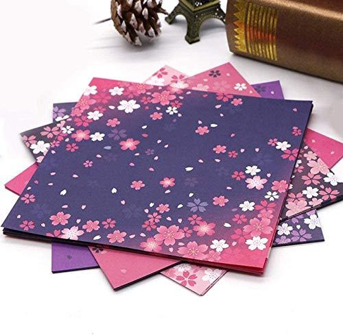 WQF 60 Piezas de Papel de Origami Cuadrado Papel de Origami Lados Dobles Flor de Cerezo Plegable Coloridos Papeles de Sakura niños Hechos a Mano DIY Scrapbooking Craft