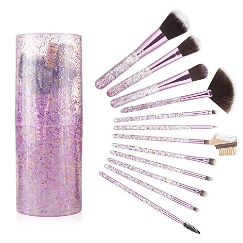 Wodasi Set de Brochas de Maquillaje Profesional 12 Piezas, Kit Brochas Maquillaje Premium Synthetic Foundation Brush Blending Face Powder Blush Concealers Kit de Pinceles, Púrpura