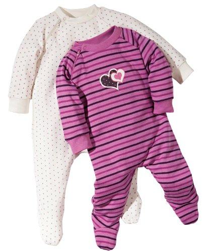 Baby Butt Erwin Müller Baby-Schlafanzug, Strampler 2er-Pack mit Druckmotiv, Interlock-Jersey, Größe 44 - 100% Baumwolle, mit Reißverschluss, durchgehend zu öffnen