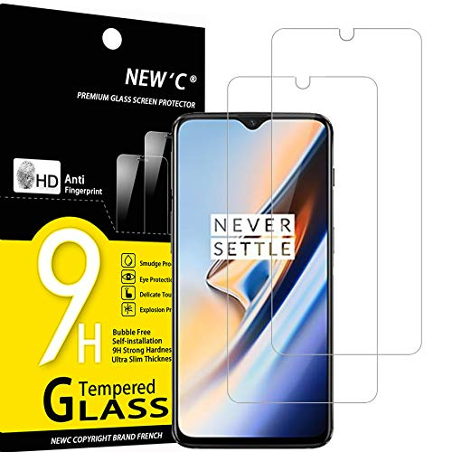 NEW'C 2 Pezzi, Vetro Temperato Compatibile con One Plus 6T, One Plus 7, Pellicola Prottetiva Anti Graffio, Anti-Impronte, Durezza 9H, 0,33mm Ultra Trasparente, Ultra Resistente