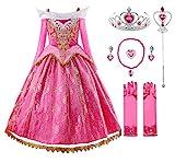 JerrisApparel Niña Princesa Cordón Vestir Rosa Bella Cosplay Fiesta (6 años, Rosa con Accesorios)