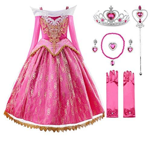 JerrisApparel Niña Princesa Cordón Vestir Rosa Bella Cosplay Fiesta (7 años, Rosa con Accesorios)