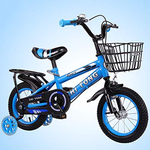 FYLY-18 Pulgadas Ajustable Bicicleta Infantil con Ruedas de Entrenamiento, Marco de Acero Al Carbono Bicicleta para Niños con Frenos y Asiento Trasero, para Niños y Niñas de 7 A 9 Años,Azul