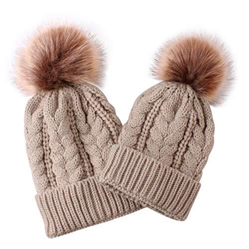 puseky 2 Piezas Sombrero de Punto para Padres e Hijos Madre y bebé Familia a Juego Invierno cálido Crochet Beanie Hat