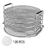 Dehydrator Racks for Oven, Dehydrator Stand Rack, Five Stackable Layer with Feet 304 Food Grade Stainless Steel Dehydrator Stand, Air Fryer & Pressure Cooker Grill Rack (6.58 Qt)