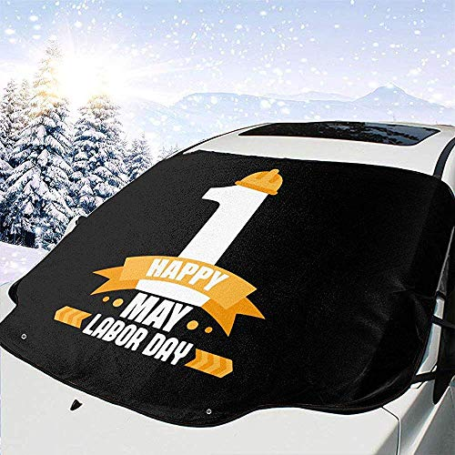 MOLLUDY Protector para Parabrisas Feliz día del Trabajo Bandera Americana Protector para Parabrisas con imán Cubierta de Parabrisas Coche Protege de Rayos Antihielo y Nieve
