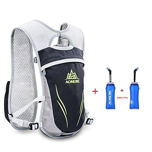 AONIJIE Trinkrucksack Hydrationspack Hydration Rucksack mit 2 Stück Trinkflaschen (Grau)