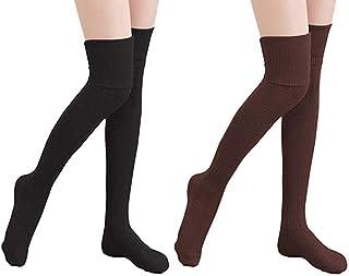 2 Pares Medias Largas Muslo Calcetines Negros Largos Niña para Damas Chicas Invierno (Negro&Café)
