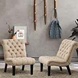 Alunaune Bedroom Chairs Armless Accent Lounge Chair Set of 2 Upholstered Tufted Sofa Backrest Fabric Recliner Living Room Chairs Wood Legs-Khaki