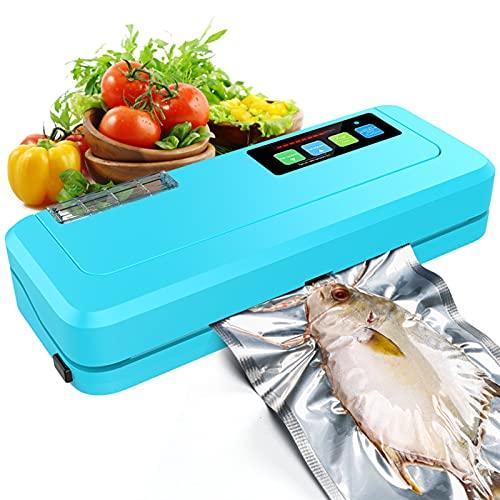 SCYMYBH Máquina de sellador de vacío Househlod Alimento Sellado de vacío Máquina de Embalaje Sellador de película Bolsas de vacío (Color : Blue)