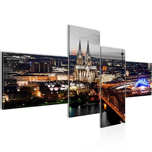 Bilder Köln Wandbild 200 x 100 cm Vlies - Leinwand Bild XXL Format Wandbilder Wohnzimmer Wohnung Deko Kunstdrucke Braun 4 Teilig - MADE IN GERMANY - Fertig zum Aufhängen 601541c