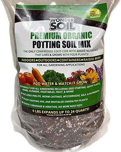 Wonder Soil Premium Organic Potting Soil Mix Nutrient Rich Coco Coir Expands 6 Lbs Bag to 24 product image
