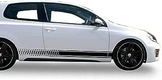 Bubbles Designs 2X Decal Sticker Vinyl Side Racing Stripes Compatible with Volkswagen VW Golf Mk2,Mk3,Mk4,Mk5,Mk6 and Mk7