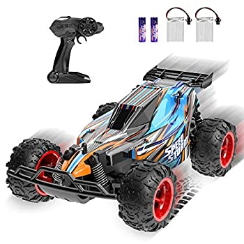JEYPOD Remote Control Car 2.4 GHZ High Speed Racing Car with 4 Batteries