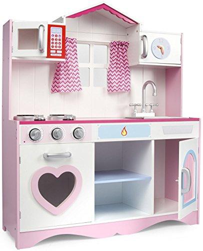 Leomark Cocina Rose Play Cocina Madera Infantil de Juguete Accesorios, Efectos de luz y Sonido, para Niños y Niñas, Dimensión: 82x30x101 Ventana Cortinas Microonda Corazón