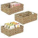 mDesign Juego de 3 cestos organizadores para cocina o despensa – Cesta trenzada con asas para guardar alimentos – Canasta de junco marino y alambre de metal – 40,6 x 30,5 x 15,2 cm – natural
