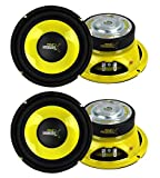 "Pyle PLG64 6.5"" 1200W Car Audio Mid Bass/Midrange Subwoofer Speaker Set, 2 Pair with Yellow CD P.P...."