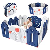 Playpen for Toddler, Dripex 16-Panel Foldable Baby Playpen Anti-Fall Fence Kids Activity Center Safety Play Yard with Toys and Lock Gate for Infants Girls and Boys Use Indoors and Outdoors Blue