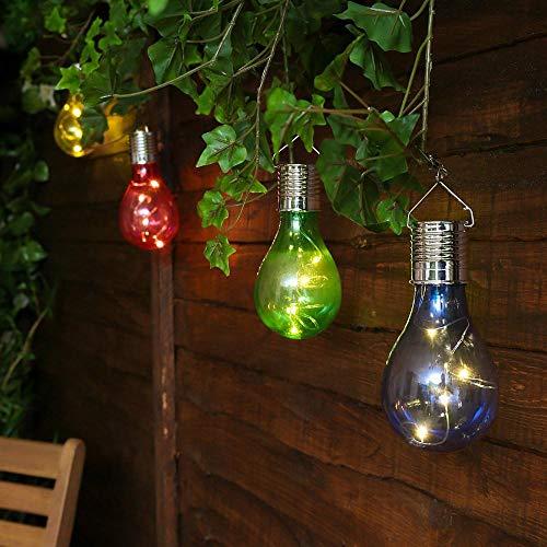 Tonsee 1 PC Solarlampe Solar Birne LED Bunt Solar Hängeleuchten Wasserdicht Solarleuchten für Außen Solar Drehbar Draussen Garten Camping Hängend Led-Licht Glühbirne (Rose rot)