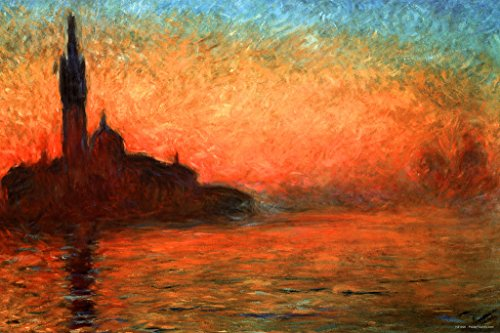 Claude Monet Sunset Dusk in Venice Cool Wall Decor Art Print Poster 36x24