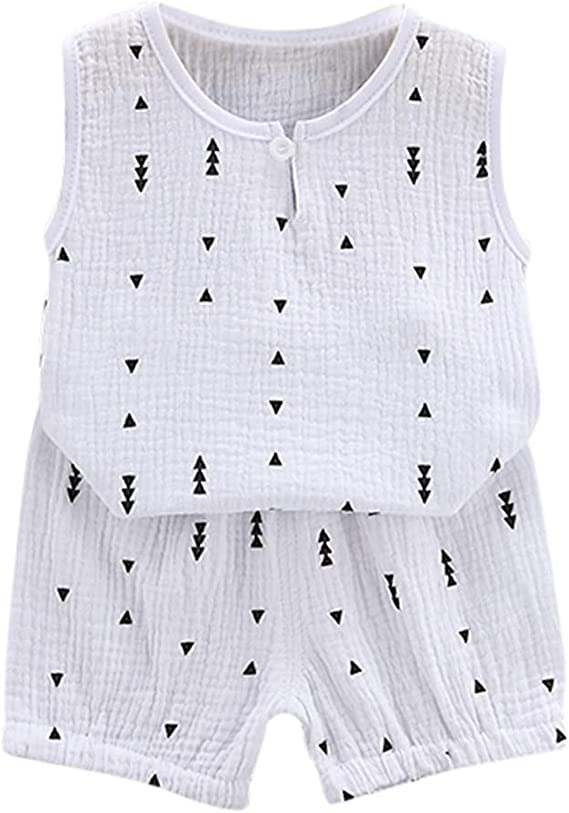 Summer Infant Baby KidS Boys Girls Geometric Print Tops Shorts Outfit Set