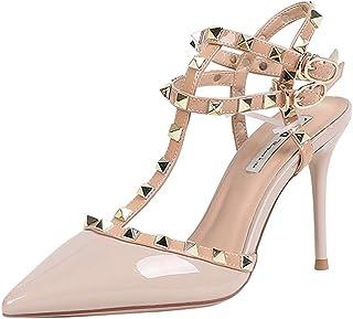 [ムリョシューズ] ヒール らくちん パンプス 9センチ レディース ハイヒール 黄色い ピンヒール 結婚式 パーティ サンダル 22cm 疲れない 歩きやすい 靴 アンクルストラップ ストラップパンプス かわいい ピンク