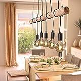 LHG Pendel-Leuchte Deckenleuchte Echtholz inklusive 5x E27 LED Leuchtmittel warmweiß, rustikale Landhaus Leuchte, Ast-Lampe Hänge-Lampe 5-flammig