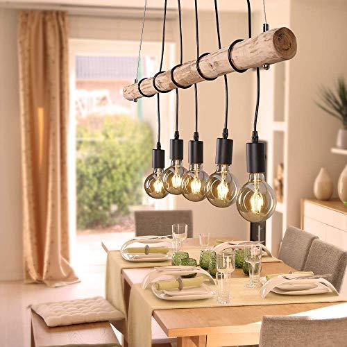 LHG Pendelleuchte Deckenleuchte Echtholz inkl. 5x E27 Filament LED Leuchtmittel warmweiß, rustikale Landhaus Ast-Lampe Hänge-Lampe 5-flammig